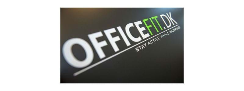 "OfficeFit logo med teksten ""Stay active while working"""